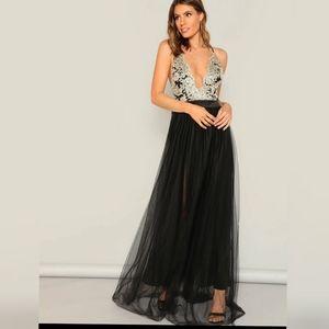 NWOT Black Flowy Tulle Dress